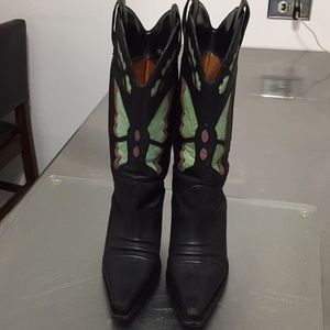 DIBA vintage  leather cowboy Boots w/Butterfly